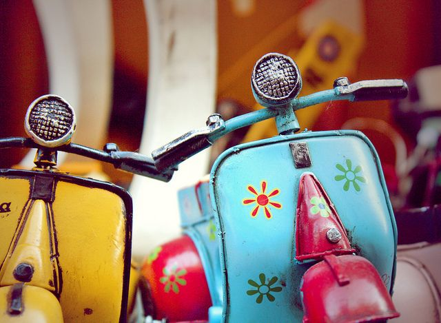Two Vespa's! When I am an old lady I will be living in a small town riding on my vespa. =)