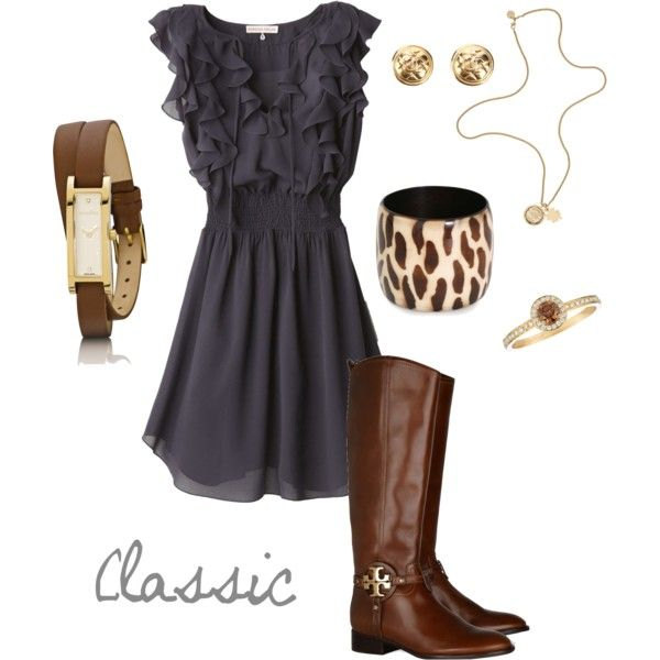 Love the dress and boots: Post, Vintage Weddings, Clothing Style, Closets, Classic Beautiful, Navy Brown, Fashionmi Style, Ruffles Dresses, Cream