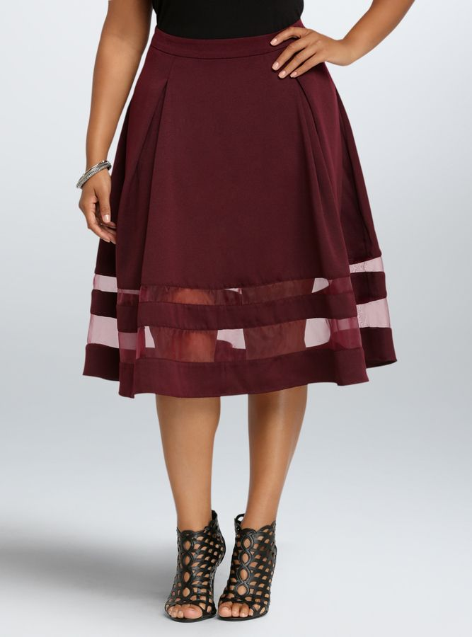 Plus Size Textured Mesh Panel Midi Skirt