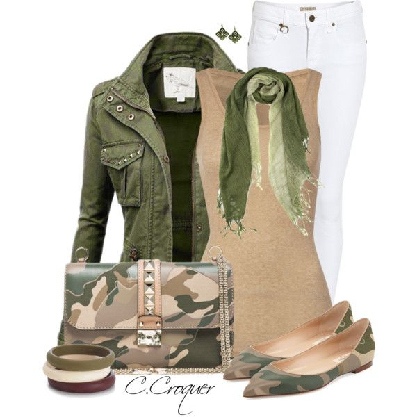Casual Camo by ccroquer on Polyvore featuring American Vintage, Burberry, Valentino, 1928, Elizabeth Koh and Chewbeads