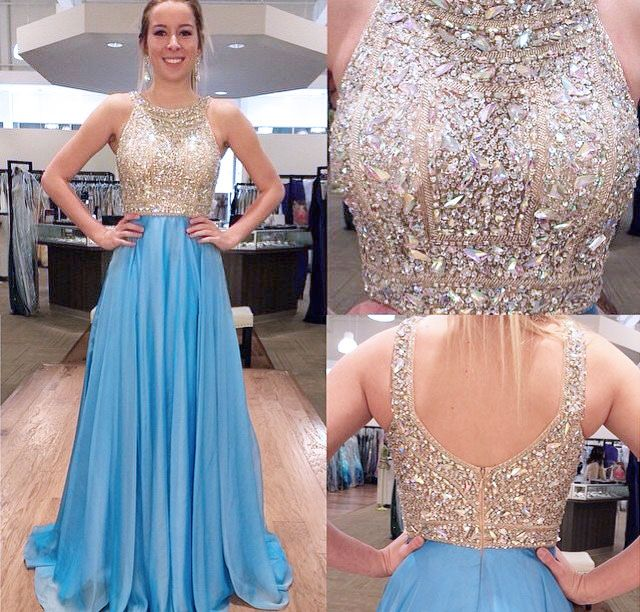 Gorgeous Prom Dresses,O-Neck Prom Dresses,Beading Crystal Prom Dresses,Backless Prom Dresses,Floor-Length Evening Dresses,Chiffon Prom Gowns