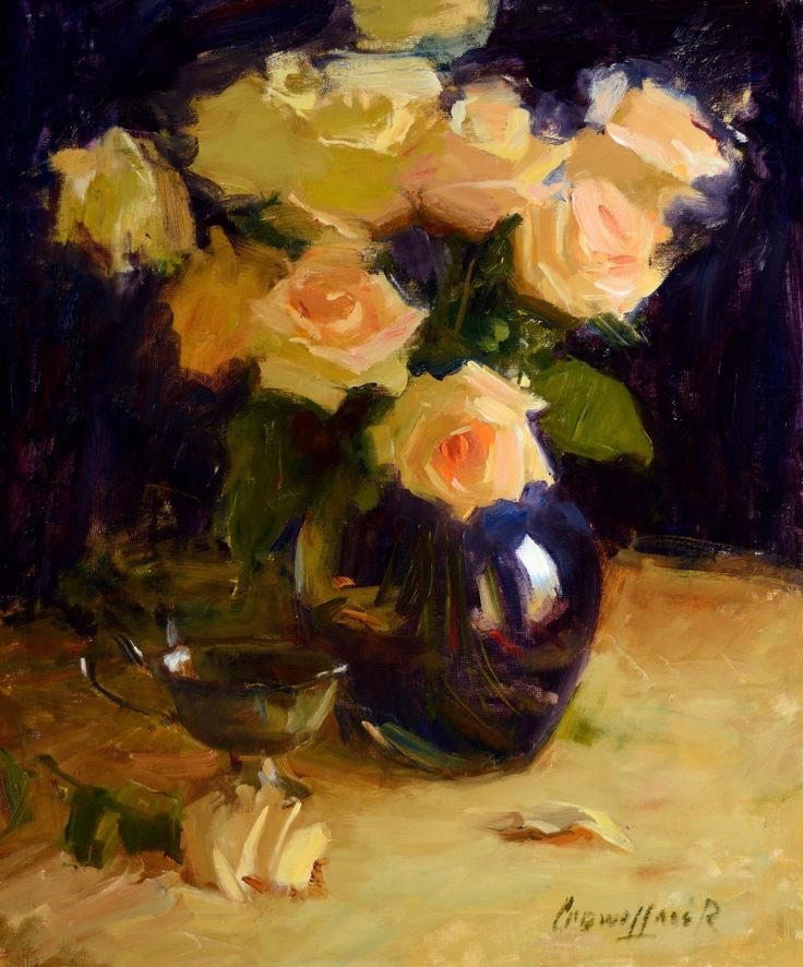 Roses In Garden: Yellow Roses Wrapped In Violet -- Oil