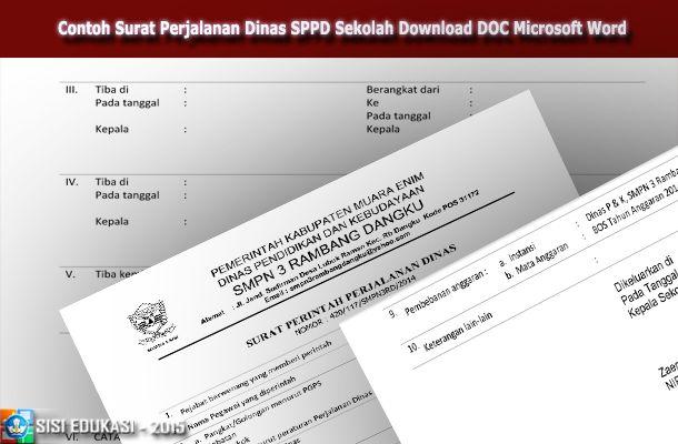 [File Pendidikan] Contoh SPPD (Surat Perjalanan Dinas) Sekolah Download Format Microsoft Word Doc