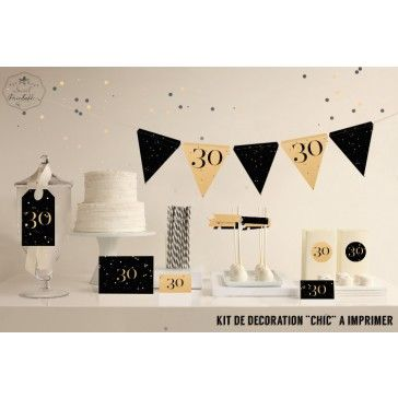 """Kit de décoration """"Chic"""" noir et doré imprimable                                                                                                                                                                                 Plus"""
