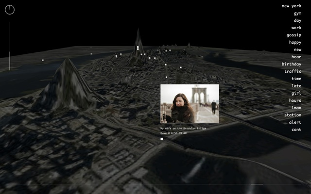 """Invisible Cities"" maps information from one realm—online social networks—to another: an immersive, three-dimensional space."