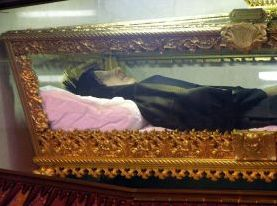 Saint Frances Xavier Cabrini - Also known as Mother Cabrini, she died in Chicago in 1917, and was entombed at that time in West Park, New York. In 1931 her remains were exhumed and found to be partially incorrupt. She was beatified in 1938 and in 1946 was the first US citizen to be canonized a Saint. Her partially incorrupt body covered in wax is now enshrined under the altar in the chapel at St. Francis Cabrini Shrine in New York City.