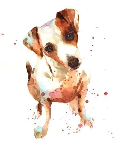 "Daily Paintworks - ""Jack Russell Baby"" - Original Fine Art for Sale - © Alison Fennell"