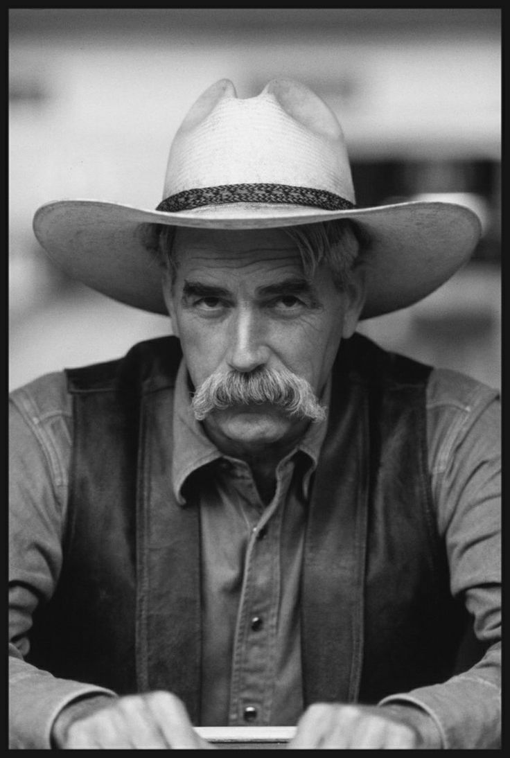 Sam Elliott with his rangy physique, thick horseshoe moustache, deep, resonant voice, and Western drawl lend to frequent casting as cowboys and ranchers.