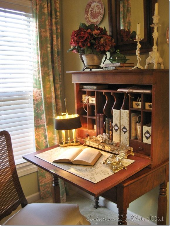 Great storage compartments in this desk! Plus, it folds up to save space -  what more could you want? - Another Frenchy Chair...and...A Look Inside My Antique Plantation