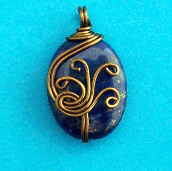 Copper Wire Wrapped Lapis Lazuli Pendant Style by MontourDesigns, $20.00
