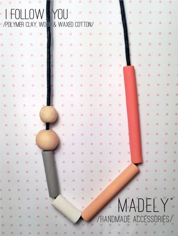 I FOLLOW YOU / madely handmade necklace / coral, blush, grey and white polymer clay tubes and wood beads