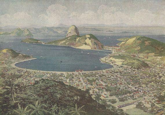 Vintage Illustration, Rio de Janeiro, Brazil, 1920s ...