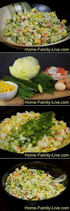 Салат из крабовых палочек с огурцом - пошаговый фоторецепт   Кулинарные рецепты