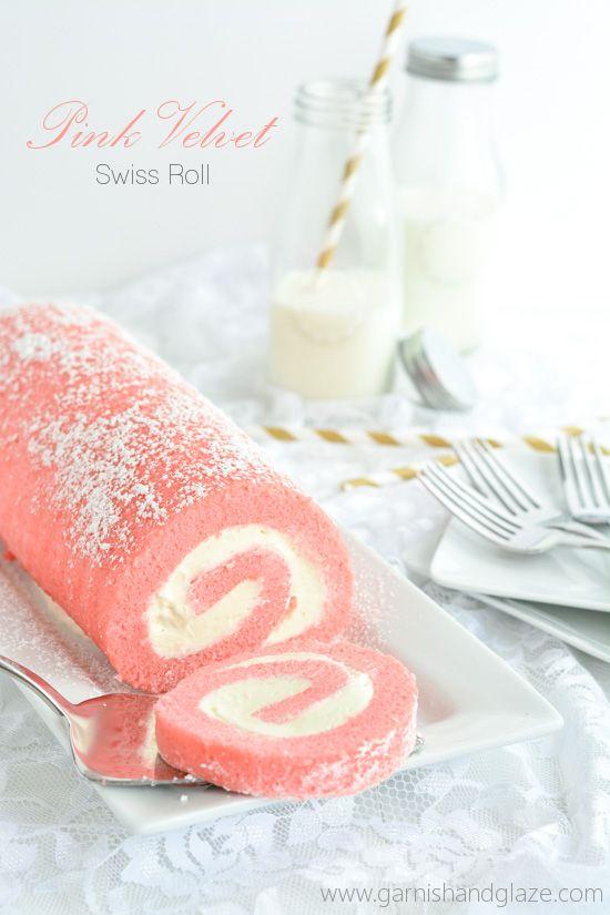 Pink Velvet Swiss Roll   Garnish & Glaze