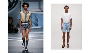Short shorts on the Prada catwalk and Cos shorts.