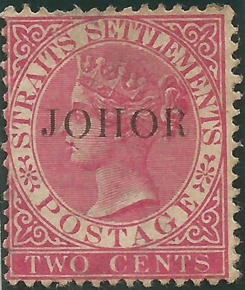 One of the over-prints from 1884. Johor(e) stamp on a QV Straits Settlement stamp.  AM