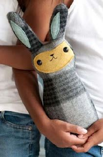 recycled winter scarf bunny - perfect for Easter