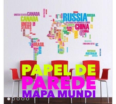 COMPRE AQUI !! Adesivo de parede - Mapa mundi colorido 122cm x 74cm - Nós na Trip Store