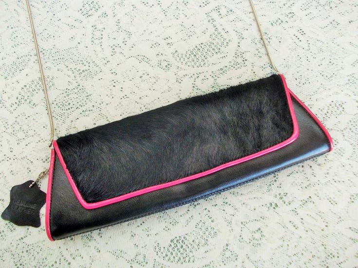 Couture Handbag, Valerie Stevens, Black Horsehair & Leather, Hot Pink Piping, Silver Chain