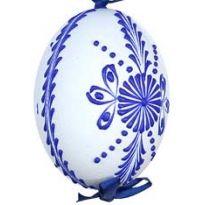 White with Dark Blue Eastern European Egg Ornament ~ Handmade in Slovakia