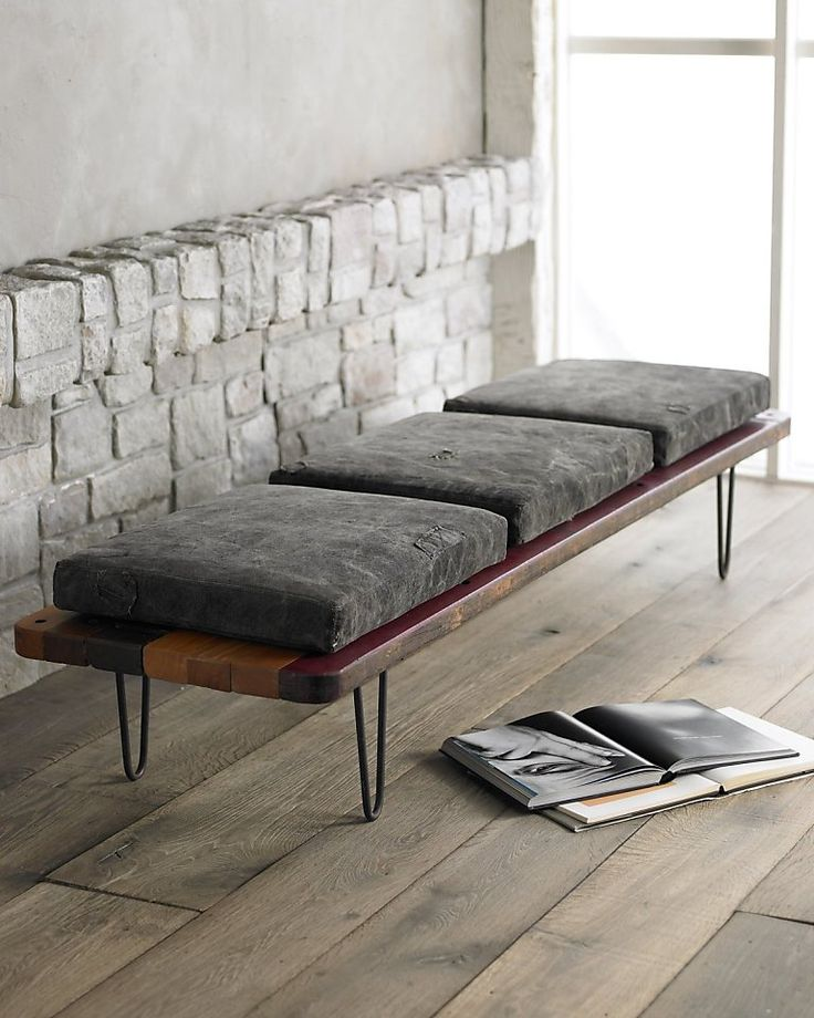Will said piece maintain its usefulness when you decide to move it from the foot of the bed to the living room or to the entry way? A graphic pattern of reclaimed South American hardwoods lend the Tarp Bench, $1,899 from Horchow, a natural sensibility that makes it a comfortable fit all over the house. The Hairpin Leg