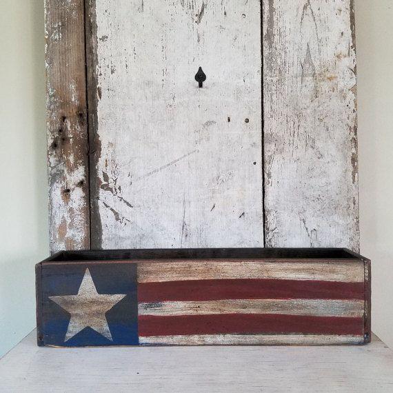 Primitive Flag Box  Americana Vintage Drawer Flag Country