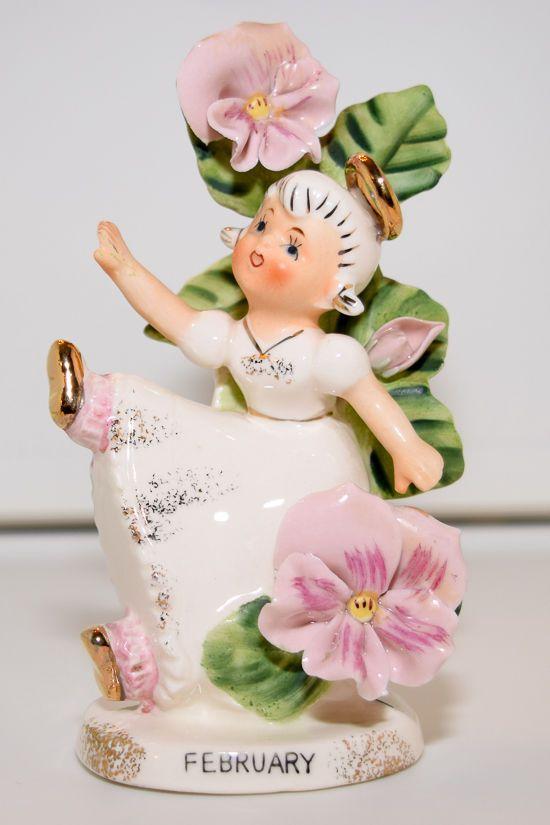 Vintage Lefton China Girl Angel - February, Flower Girl of the Month (985)