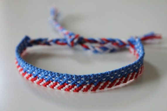 Patriotic Red White Blue Friendship Bracelet By Missymaedesigns 10 00