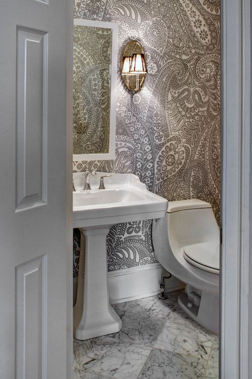 Paisley Wallpaper, Transitional, bathroom, CASE Design