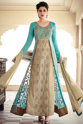 Turquoise and Gold Modern Anarkali Suit