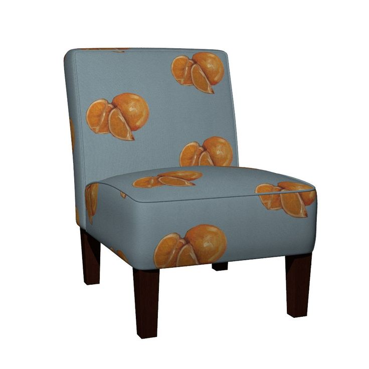 Maran Slipper Chair featuring Duck Egg and Oranges by traceyharveydesigns | Roostery Home Decor feature chair
