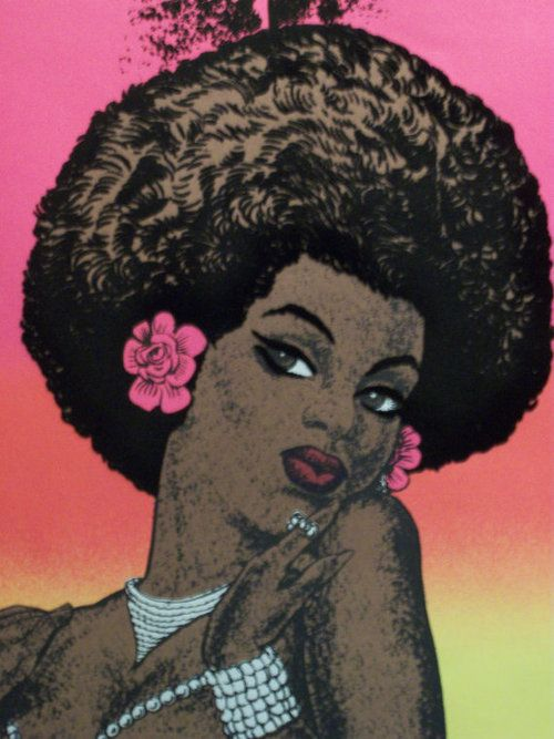 BLACK MAGIC WOMAN   1975  Vintage black light poster of African American woman.  Artist unknown.  Black History Album, The Way We Were