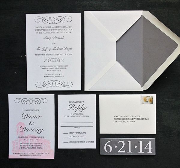 Featured Wedding Invitation Design: Modern Formal Invitation Suite by 622 Press (10)