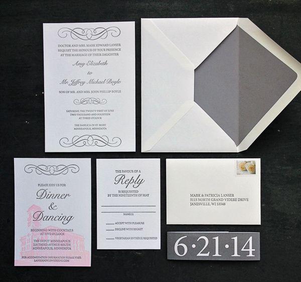 Featured Wedding Invitation Design: Modern Formal Invitation Suite by 622 Press (10)