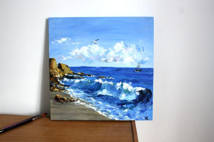 acrylic painting sea sky blue