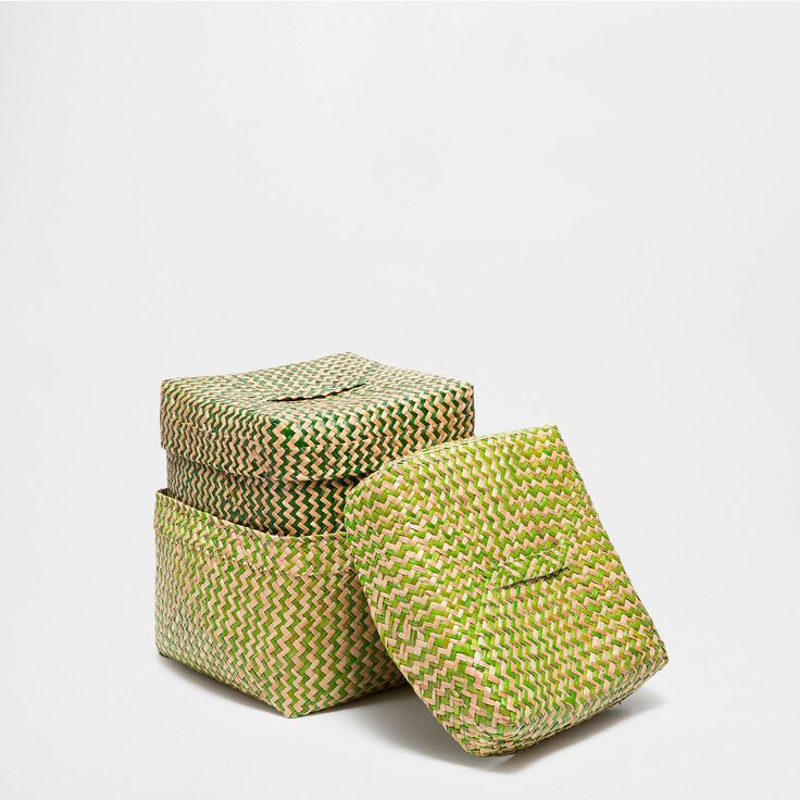 Square flecked basket with lid baskets decoration for Wallpaper zara home
