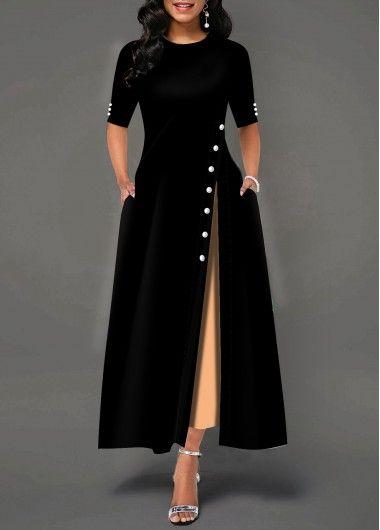 Black Lace Panel Long Sleeve Bodycon Dress | Rosewe.com - USD $29.78 3