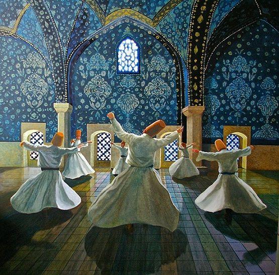 Turn as the earth and moon turn, circling what they love. (Ay'ın dünyanın etrafında dönmesinin nedeni sevgidir.) ~Rumi