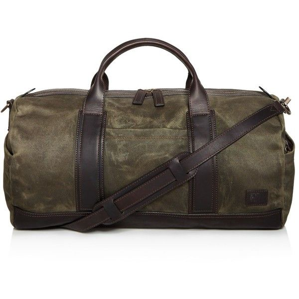 Frye Carter Duffel Bag ($428) ❤ liked on Polyvore featuring men's fashion, men's bags, olive, mens leather bag, men's duffel bags, mens leather duffel bag, mens leather duffle bag and frye mens bag