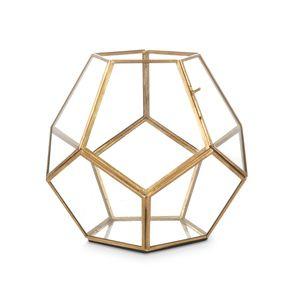 Small Hexagonal Brass Terrarium