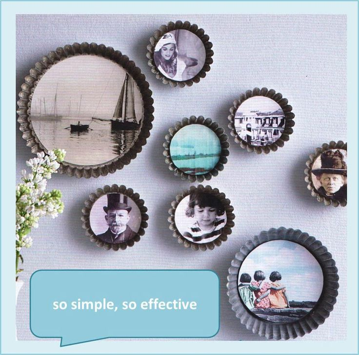 This could be done (in miniature) with bottle caps.  Or with old tart pans.  Add a magnet and you have a cool recycled gift idea.