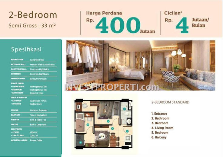 Tipe 2 BR apartemen Garden Serpong Cisauk