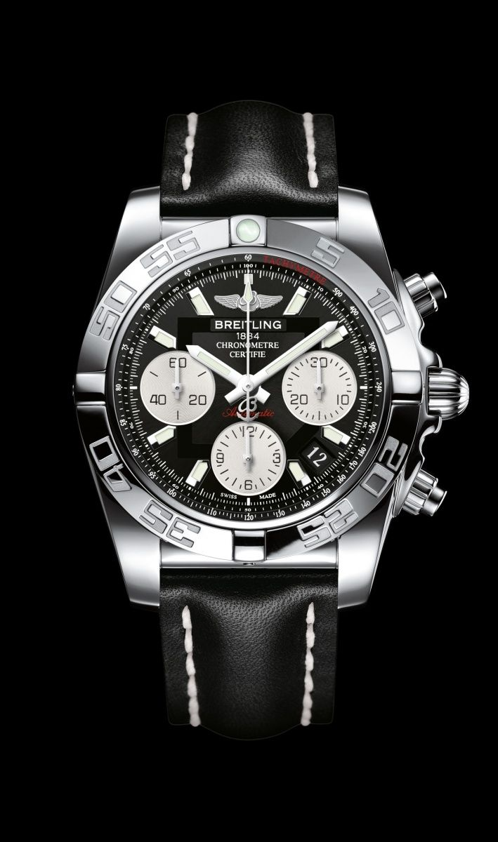 Chronomat 41 watch by Breitling - Selfwinding chronograph, steel case, onyx black dial, black leather strap.