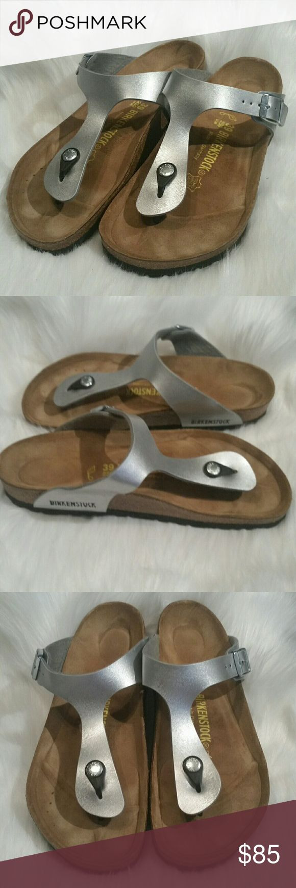Birkenstock Sz. 39 Gizeh Birko-Flor Thong Sandals Birkenstock Gizeh Birko-Flor Thong Sandals Metallic Silver Size 39 EU ( 8- 8.5) Excellent condition Birkenstock  Shoes Sandals