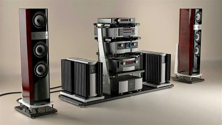 Full Mark Levinson electronic setup and Focal speakers on JTL Audio equipment and speaker stands.