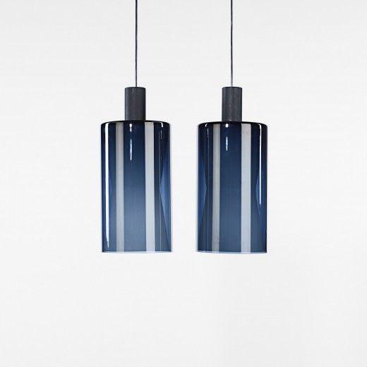Tapio Wirkkala, Glass and Enameled Aluminum Pendant Lamps for Iittala/Idman Oy, c1960.