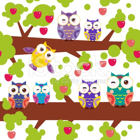 seamless pattern owls on the branch  tree with red apples royalty-free stock vector art