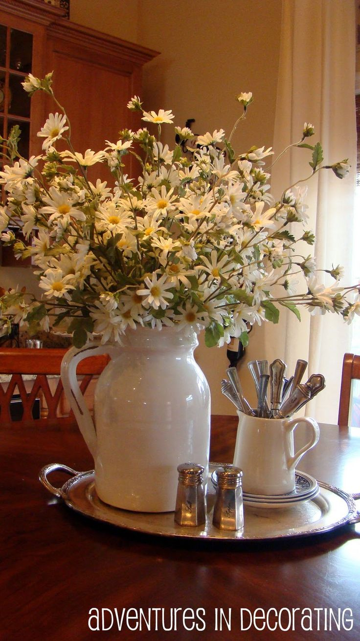 Centerpiece Kitchen Table 20 best spring kitchen table centerpieces images on pinterest perfect daisies in a lovely white pitcher such cute spring decor for a kitchentable workwithnaturefo