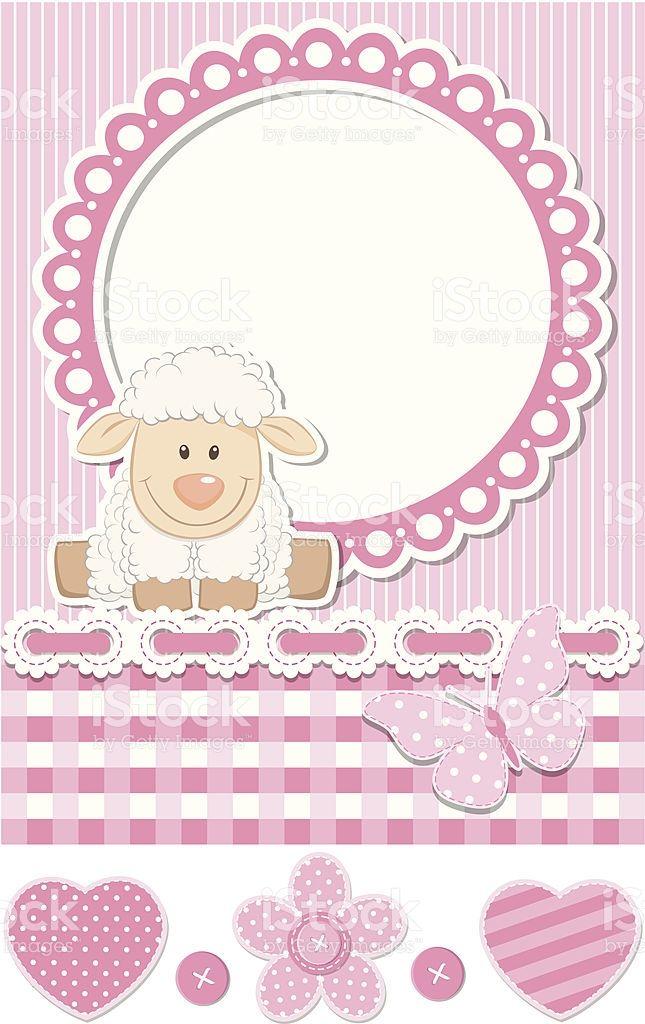 Bebê feliz ovinos conjunto de scrapbook cor-de-rosa vetor e ilustração royalty-free royalty-free