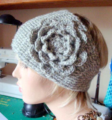 Knitted Look Headband W Flower And Pattern Crochet